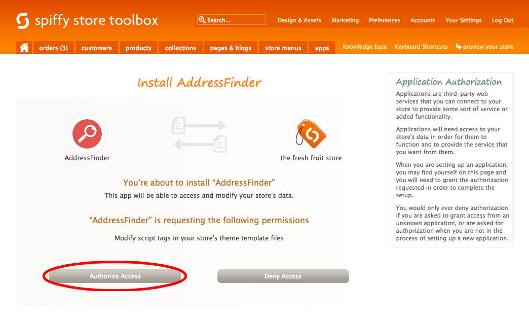 Screenshot of the Spiffy authorize access page
